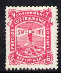 New Zealand 1944-47 Life Insurance 6d pink (Lighthouse) unmounted mint but some foxing, SG L41