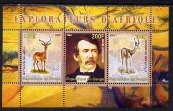Congo 2008 Explorers of Africa #1 - David Livingstone perf sheetlet containing 3 values unmounted mint