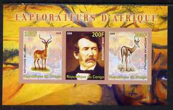 Congo 2008 Explorers of Africa #1 - David Livingstone imperf sheetlet containing 3 values unmounted mint