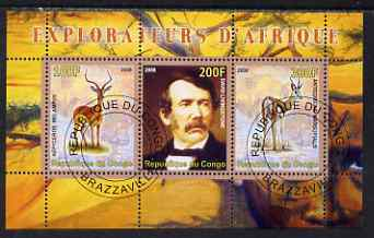 Congo 2008 Explorers of Africa #1 - David Livingstone perf sheetlet containing 3 values cto used