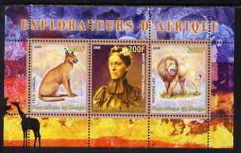 Congo 2008 Explorers of Africa #3 - Mary Henrietta KIngsley perf sheetlet containing 3 values unmounted mint