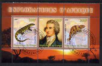 Congo 2008 Explorers of Africa #4 - Mungo Park perf sheetlet containing 3 values cto used
