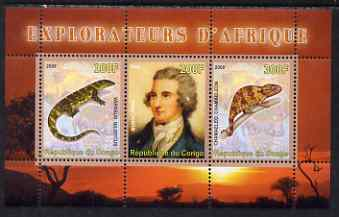 Congo 2008 Explorers of Africa #4 - Mungo Park perf sheetlet containing 3 values unmounted mint