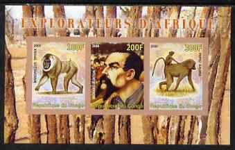 Congo 2008 Explorers of Africa #5 - Richard Burton imperf sheetlet containing 3 values unmounted mint