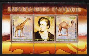 Congo 2008 Explorers of Africa #6 - Richard Lemon Lander perf sheetlet containing 3 values unmounted mint, stamps on personalities, stamps on explorers, stamps on animals, stamps on giraffes, stamps on camels