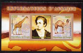 Congo 2008 Explorers of Africa #6 - Richard Lemon Lander imperf sheetlet containing 3 values unmounted mint