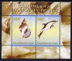 Congo 2008 Shells & Marine Life #2 perf sheetlet containing 2 values unmounted mint