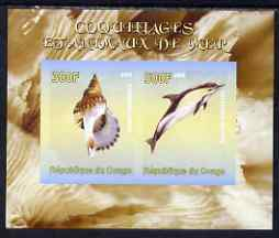 Congo 2008 Shells & Marine Life #2 imperf sheetlet containing 2 values unmounted mint