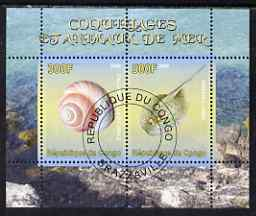 Congo 2008 Shells & Marine Life #3 perf sheetlet containing 2 values cto used