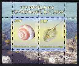 Congo 2008 Shells & Marine Life #3 perf sheetlet containing 2 values unmounted mint
