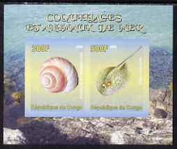 Congo 2008 Shells & Marine Life #3 imperf sheetlet containing 2 values unmounted mint