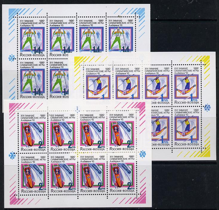Russia 1992 Albertville Winter Olympics set of 3 sheetlets each containing block of 8 unmounted mint (SG 6311-13) Mi 220-22