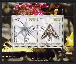 Congo 2008 Butterflies & Orchids #1 perf sheetlet containing 2 values cto used