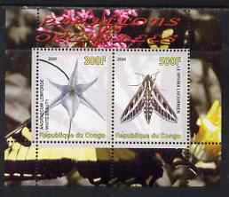 Congo 2008 Butterflies & Orchids #1 perf sheetlet containing 2 values unmounted mint