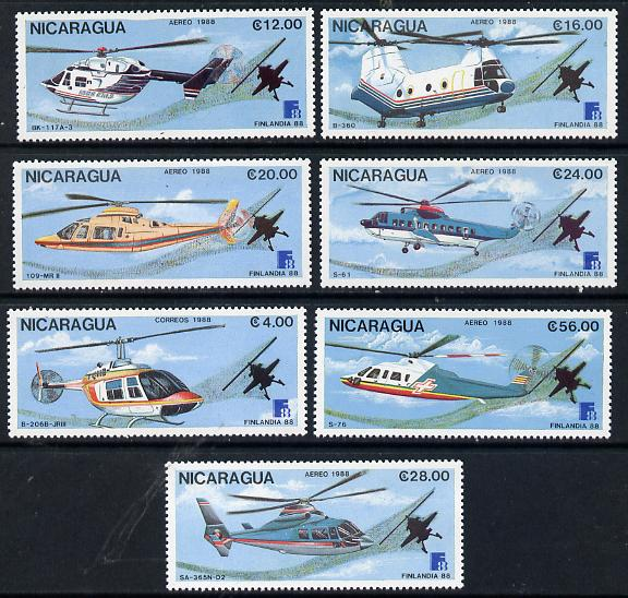 Nicaragua 1988 'Finlandia 88' Stamp Exhibition set of 7 Helicopters, unmounted mint SG 2971-77