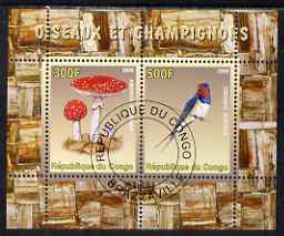 Congo 2008 Birds & Mushrooms #2 perf sheetlet containing 2 values cto used