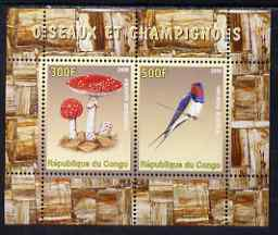 Congo 2008 Birds & Mushrooms #2 perf sheetlet containing 2 values unmounted mint