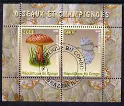 Congo 2008 Birds & Mushrooms #3 perf sheetlet containing 2 values cto used