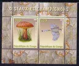 Congo 2008 Birds & Mushrooms #3 perf sheetlet containing 2 values unmounted mint