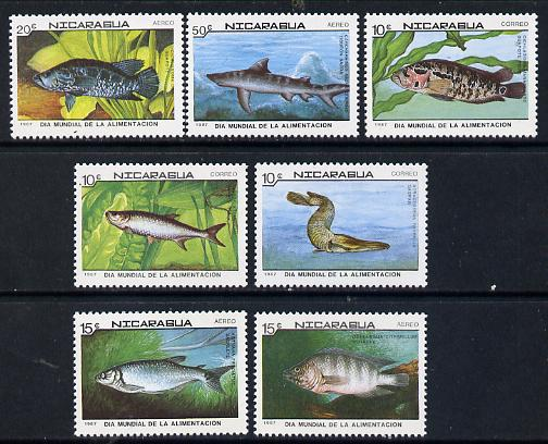 Nicaragua 1987 World Food Day (Fish) set of 7 unmounted mint, SG 2917-23