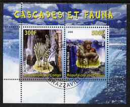 Congo 2008 Waterfalls & Animals (Zebra & Monkey) perf sheetlet containing 2 values cto used