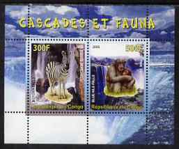 Congo 2008 Waterfalls & Animals (Zebra & Monkey) perf sheetlet containing 2 values unmounted mint