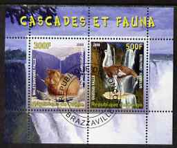 Congo 2008 Waterfalls & Animals (Hippo & Ostrich) perf sheetlet containing 2 values cto used, stamps on waterfalls, stamps on animals, stamps on hippos, stamps on ostriches