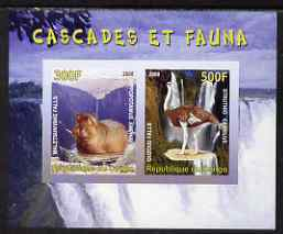 Congo 2008 Waterfalls & Animals (Hippo & Ostrich) imperf sheetlet containing 2 values unmounted mint