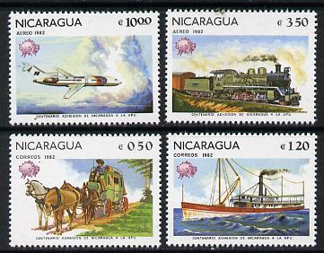 Nicaragua 1982 Universal Postal Union Membership Centenary (Mailcoach, Packet Steamer, Loco & Airliner) set of 4 unmounted mint, SG 2355-58