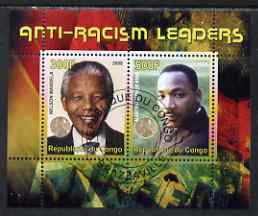 Congo 2008 Nobel Peace Prize Winners - Mandela & Martin Luther King perf sheetlet containing 2 values cto used