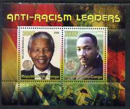 Congo 2008 Nobel Peace Prize Winners - Mandela & Martin Luther King perf sheetlet containing 2 values unmounted mint