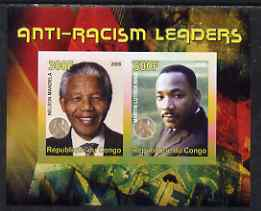 Congo 2008 Nobel Peace Prize Winners - Mandela & Martin Luther King imperf sheetlet containing 2 values unmounted mint