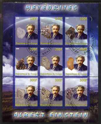 Congo 2008 Albert Einstein & Meteorites perf sheetlet containing 9 values cto used