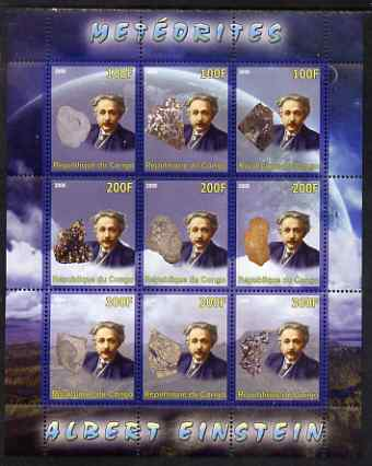 Congo 2008 Albert Einstein & Meteorites perf sheetlet containing 9 values unmounted mint
