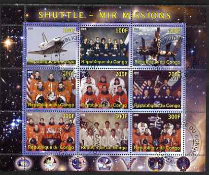 Congo 2008 Shuttle & Mir Space Station perf sheetlet containing 9 values cto used
