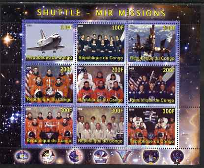 Congo 2008 Shuttle & Mir Space Station perf sheetlet containing 9 values unmounted mint, stamps on personalities, stamps on space, stamps on aviation, stamps on shuttle, stamps on