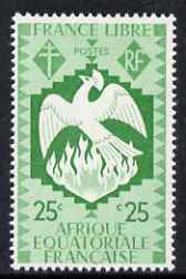 French Equatorial Africa 1941 Phoenix Bird rising from the Ashes 25c green unmounted mint, SG 166