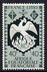 French Equatorial Africa 1941 Phoenix Bird rising from the Ashes 40c slate-green unmounted mint, SG 168