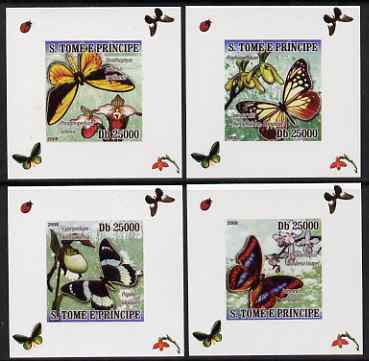 St Thomas & Prince Islands 2008 Orchids & Butterflies set of 4 imperf deluxe sheetlets unmounted mint