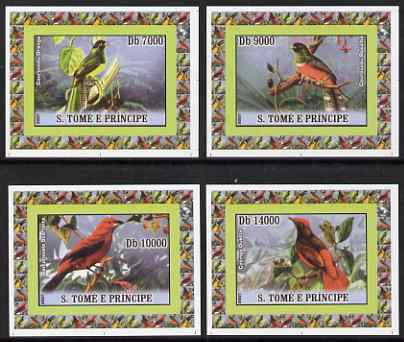 St Thomas & Prince Islands 2007 Birds set of 4 imperf deluxe sheetlets unmounted mint
