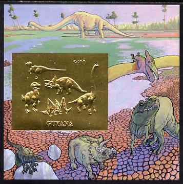 Guyana 1994 Prehistoric Animals #2 - $600 m/sheet with design embossed in gold foil on thin card unmounted mint
