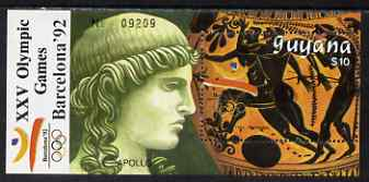 Guyana 1989 Barcelona Olympic Games $10 m/sheet (Running - detail of Black-figure Greek Pot & Statue Head) unmounted mint