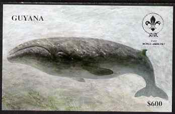 Guyana 1995 18th World Scout Jamboree imperf m/sheet $600 showing Whale unmounted mint, from a limited numbered edition printed on thin card