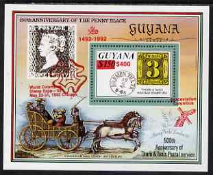 Guyana 1992 Anniversaries (Columbian Stamp Expo & Spacestation Columbus) scarce opt & surch in red $400 on $150 (150th Anniversary of Penny Black and Thurn & Taxis Postal Anniversary - Thurn & Taxis 3 sgr stamp) unmounted mint