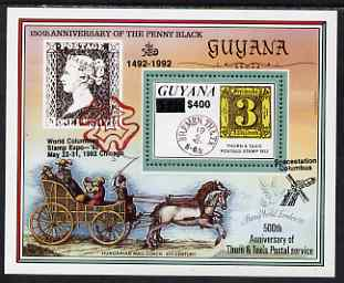 Guyana 1992 Anniversaries (Columbian Stamp Expo & Spacestation Columbus) opt & surch in black $400 on $150 (150th Anniversary of Penny Black and Thurn & Taxis Postal Anniversary - Thurn & Taxis 3 sgr stamp) unmounted mint