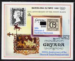 Guyana 1992 Anniversaries (Columbian Stamp Expo & Olympics) opt & surch in black $500 on $150 (150th Anniversary of Penny Black and Thurn & Taxis Postal Anniversary - Thurn & Taxis 6k stamp) unmounted mint