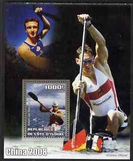 Ivory Coast 2006 Beijing Olympics - Canoeing Adam van Koeverden perf s/sheet unmounted mint