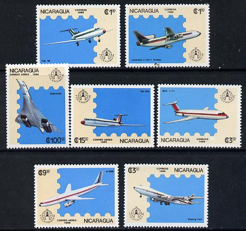 Nicaragua 1986 'Stockholmia 86' Stamp Exhibition set of 7 Aircraft unmounted mint, SG 2783-89*