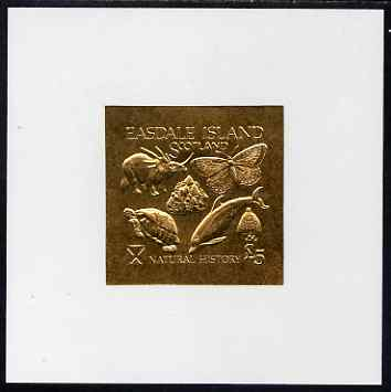 Easdale 1991 Natural History \A35 imperf souvenir sheet embossed in gold on thin card (imperf) unmounted mint