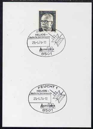 Postmark - West Germany 1974 postcard bearing 5pfg stamp with special cancellation for Helios Solar Probe